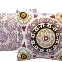 Tribal Pillow Covers Set In Lilac linen black grey by GrandmaJYC