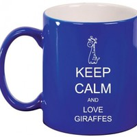 Keep Calm and Love Giraffes Ceramic Coffee Tea Mug Cup Blue:Amazon:Kitchen & Dining