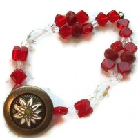 Poinsettia Bracelet Flower Red Stretch | kathisewnsew - Jewelry on ArtFire