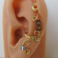 Gold Ear Cuff Wrap Cartilage Non Pierced Swarovski Crystals