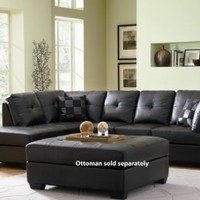 Contemporary Black Leather Sectional Sofa Left Side Chaise by Coaster:Amazon:Home & Kitchen