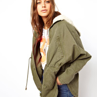 ASOS | ASOS Washed Parka With Borg Lining at ASOS