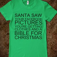 Santa Saw Your Facebook-Unisex Grass T-Shirt