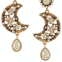 Oscar de la Renta | Lunar gold-plated crystal clip earrings | NET-A-PORTER.COM