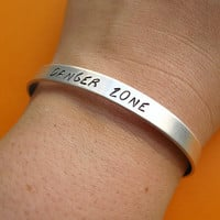 Archer TV Show Inspired Bracelet -Danger Zone -Hand Stamped Cuff Bracelet