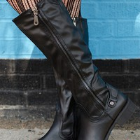 Tall Trendsetter Dual Zip Riding Boots - Black from Boots at Lucky 21