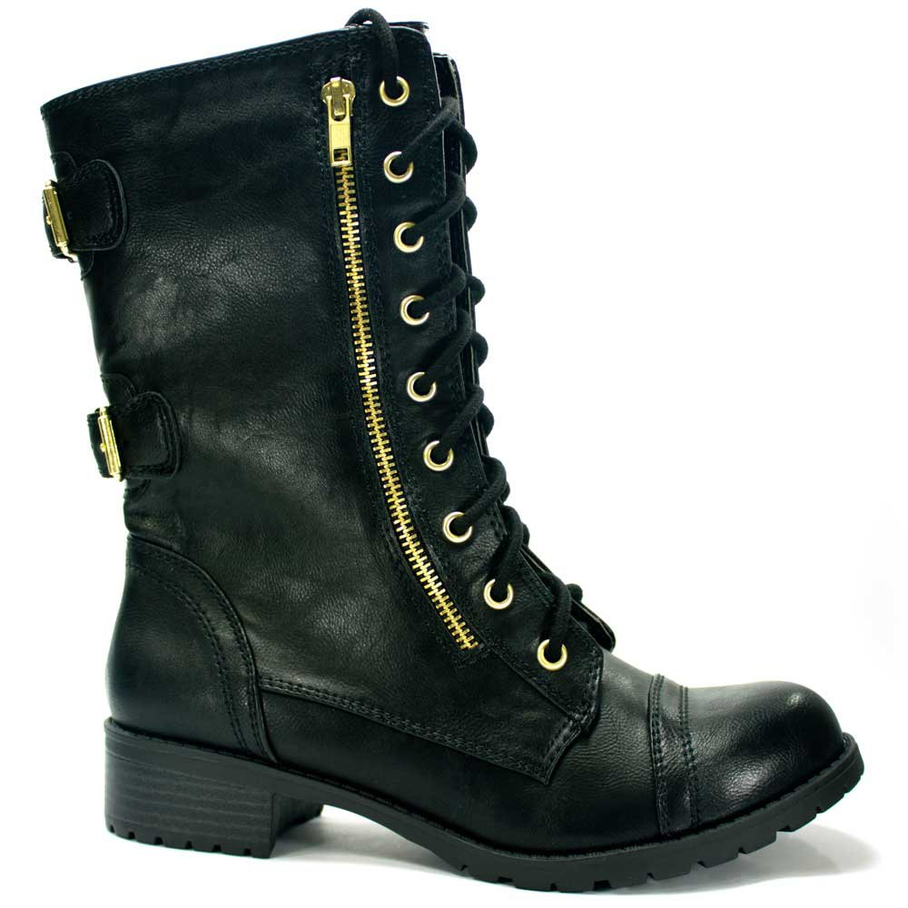 womens black gold combat boot from wwwshoetopiacom on