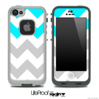 Medium Gray, Turquoise and White Chevron Pattern Skin for the iPhone 5 or 4/4s LifeProof Case - iPhone