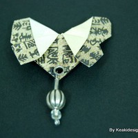 Origami Kanji Butterfly Brooch | KeakiDesigns - Jewelry on ArtFire