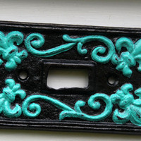 "Decorative Black & Teal ""Fleur de lis"" Light Switch Plate by AquaXpressions"