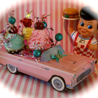 "Fake Cupcake Retro Car ""Sweet Joy Ride"" Collection by 12 Legs Curiosities Fab Party Decor/Centerpiece for Candyland & Sweet 16 Birthdays"