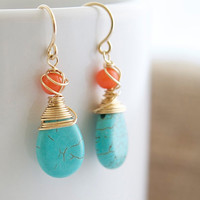 Turquoise and Coral Earrings Wire Wrapped Earrings by Jewels2Luv