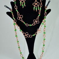 Clover Necklace,Bracelet, and earring set. | KeakiDesigns - Jewelry on ArtFire