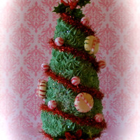 "Fake ""Holiday Cupcake Tree Collection"" Retro Inspired ""Elf and Candy Cane Tree"" Approx. 11 1/2"" h Fab Holiday Decor 12 Legs Original Design"