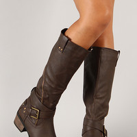 Daland-2-U Zipper Buckle Riding Knee High Boot