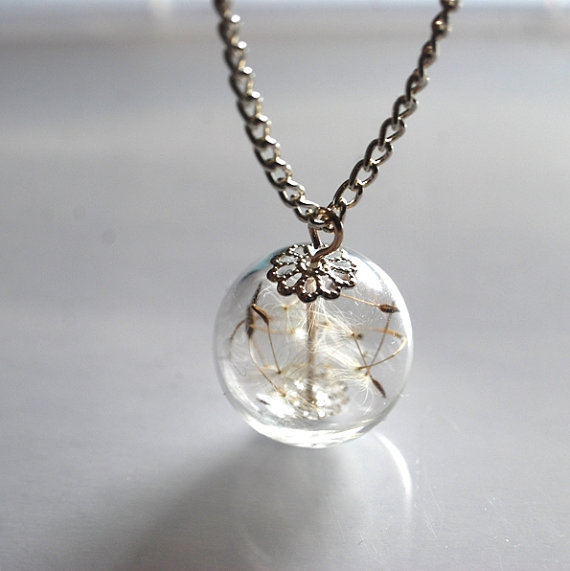 Dandelion Necklace Specimen Wish Glass Bead by NaturalPrettyThings