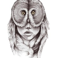 """Owlhead"" - Art Print by Jeff Langevin"