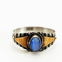 Vintage Ring with Oval Blue Fiber Optic Stone, Sterling Silver with Brass Steampunk Ring SIZE 6.75 (V515)