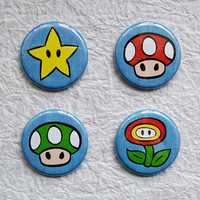 Super Mario PowerUps 125 Fan Art Pinback Button Set of by sacari