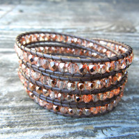 Beaded Leather Wrap Bracelet 4 Wrap with Rose Gold Light Pink Czech Glass Beads on Brown Leather