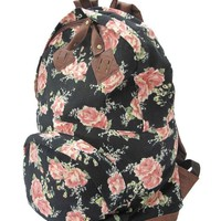 Carrot Aj-22431 Rose Print Backpack (Light Beige)