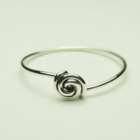 curly rose ring - sterling silver curly wire ring,- gauge 20 - handmade tiny ring