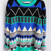 L 080204 aaa Diamond geometric pattern loose pullover