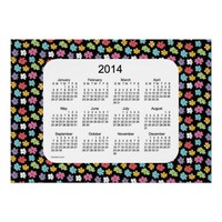 Black Flower Power 2014 Wall Calendar Print