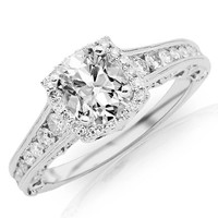 1.48 Carat GIA Certified Cushion Cut / Shape Vintage Halo Style Channel Set Round Brilliant Diamond Engagement Ring Milgrain ( D Color , VVS2 Clarity )