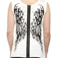 Black Glitter Wings Zipper Girls Tank Top