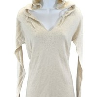 Calvin Klein Womens V-neck Hooded Pullover Sweater Stone Heather Medium