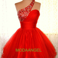 Hot A-line Beading One-shoulder Red Mini Ball Gown Short Homecoming Dresses