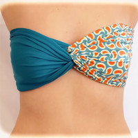 by (2BeRoxy) Swimwear Spandex Bandeau Bikini Top Swim Swimsuit Teal - Paisley Twisted Bandeau, Bandeau Black Spandex , Strapless Bra, Bandeau Bikini