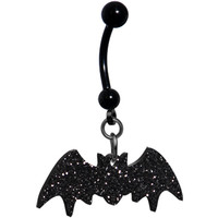 Glittery Black Bat Belly Ring | Body Candy Body Jewelry