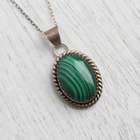 Vintage Sterling Silver Malachite Necklace - 1970s Retro Tribal Native American Green Jewelry / Bezel Set Dark Green