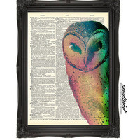Pastel Neon Titus Pullo Barn Owl Original Print on an Unframed Upcycled Bookpage