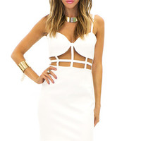 JADE CUTOUT BODYCON DRESS - White