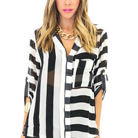 SHEA STRIPED CHIFFON BLOUSE - Black/White