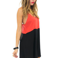 CHELLA CUTOUT CONTRAST DRESS - Black