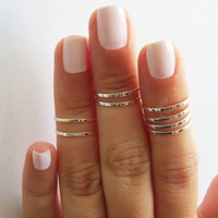 Stacking Rings - Thin midi rings - Set of 24 stack knuckle rings, 3 sets of 8 stacking ring, Gold ring, Silver ring, Rose gold ring