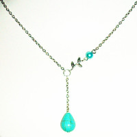 Lariat turquoise teardrop drop stone silver antique necklace