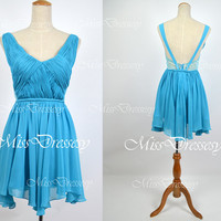 Mini Short Straps V Neck Chiffon Blue Prom Dress Wedding Party Dress, Evening Dress, Evening Gown