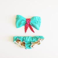 Turquoise Green Sea Foam Cotton Swimsuit sytle by PitaPataDiVa