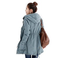2Color Korean Womens Fashion Casual Outerwear Hooded Trench Coat Anorak Jacket