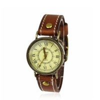 Unisex Vintage Stitch Leather Strap Watch