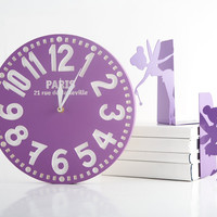 Vintage clock - Paris purple - pseudo vintage birch clock hand painted antique blue color blackboard style