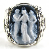 Dancing Graces Agate Cameo Ring Sterling Silver | cameojewelryart - Jewelry on ArtFire