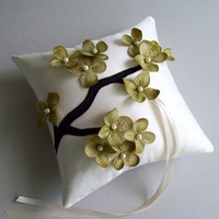 Green Flowering Branch and Ivory Silk Ring Bearer Pillow | WhiteThistleBridalDesigns - Wedding on ArtFire