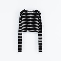 STRIPED CROPPED T - SHIRT - Woman - New this week | ZARA France