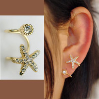 Starfish and Round Rhinestone Ear Cuff (Single, No Piercing) | LilyFair Jewelry